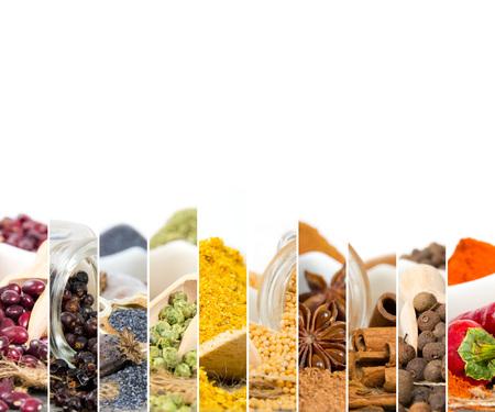 epices: Photo de coloré mélange d'épices avec un espace blanc pour le texte
