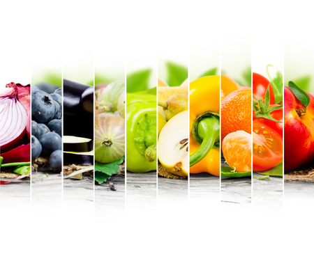 vegetables white background: Photo of fruit and vegetable mix with rainbow colors and white space