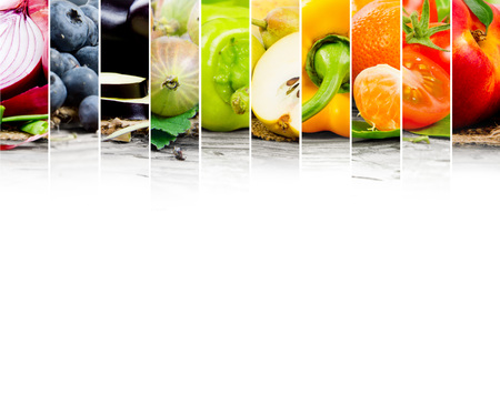 summer diet: Photo of fruit and vegetable mix with rainbow colors and white space