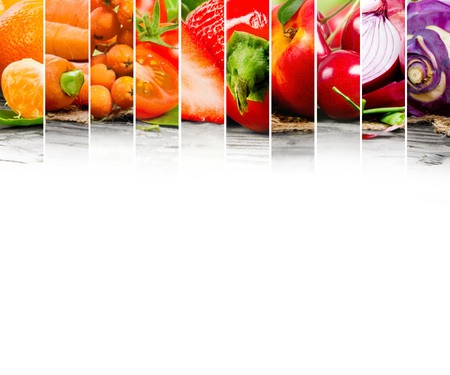 abstract fruit: Photo of fruit and vegetable mix with orange and red colors and white space Stock Photo