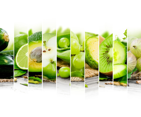 green vegetable: Photo of fruit and vegetable mix with green color and white space Stock Photo