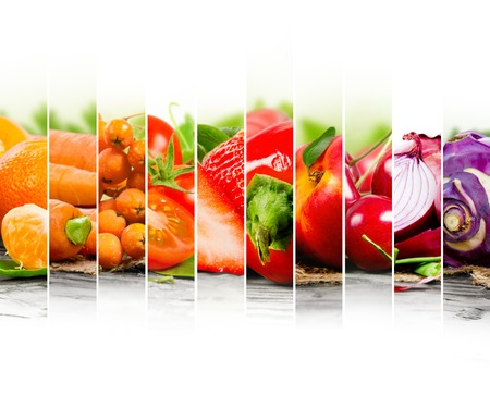 tomate: Photo of fruit and vegetable mix with orange and red colors and white space Banque d'images