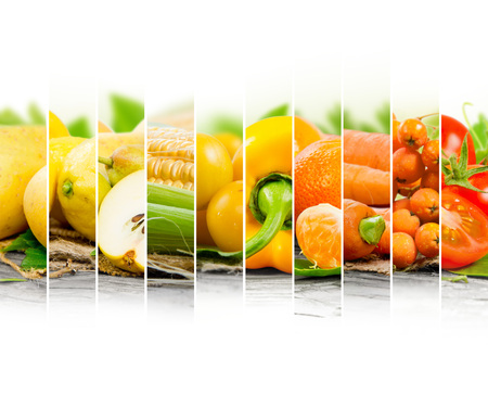 fruit: Photo of fruit and vegetable mix with yellow and orange colors and white space