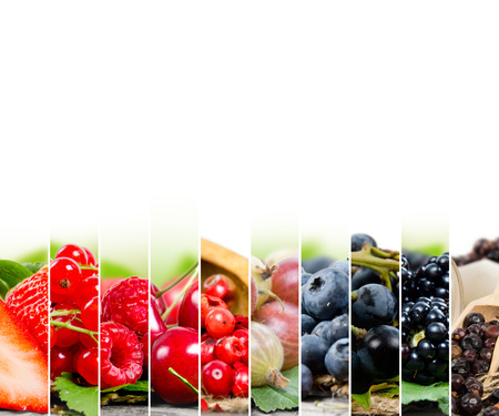 grape fruit: Photo of colorful berry mix with white space for text Stock Photo