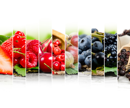 Photo of colorful berry mix with white space for text Stok Fotoğraf