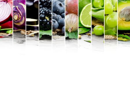 Photo of fruit and vegetable mix with green and blue colors and white space Stock Photo