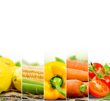 Photo of fruit and vegetable mix with yellow and orange colors and white space
