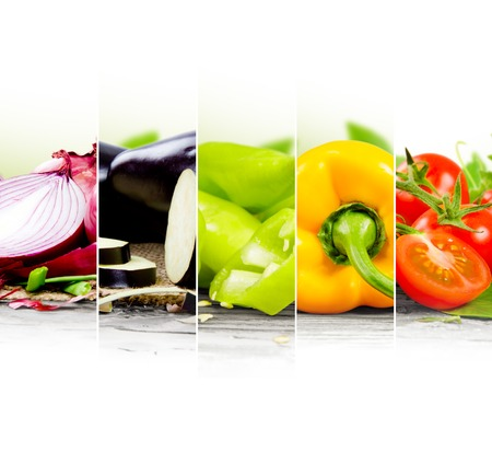 Photo of vegetable mix with rainbow colors and white space