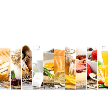 food collage: Photo of Breakfast mix slices with white space for text