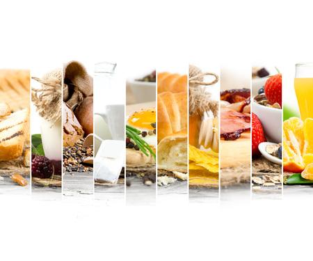 alimentos y bebidas: Foto del desayuno mezclar rebanadas con espacios en blanco para el texto