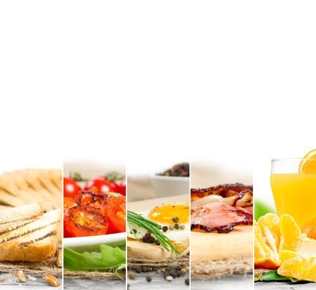 colazione: Foto di English Breakfast mescolare le fette con uno spazio bianco per il testo