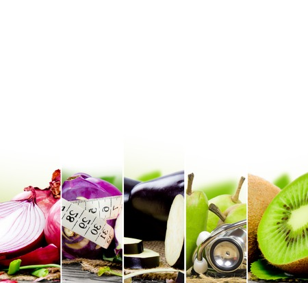 Photo of colorful fruit and vegetable mix with measuring tape, stethoscope and scale meter; concept of fitness Stock Photo - 49532214