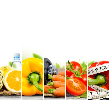 Photo of colorful fruit and vegetable mix with measuring tape, stethoscope and scale meter; concept of fitness