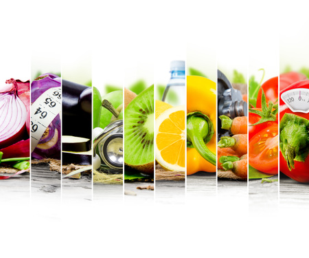 Photo of colorful fruit and vegetable mix with measuring tape, stethoscope and scale meter; concept of fitness Stock Photo - 49532445
