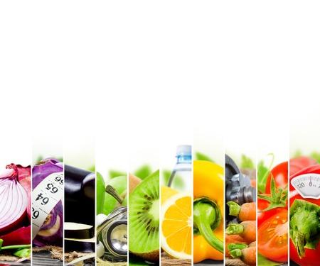 dieta sana: Foto de colores de frutas y mezcla de vegetales con cinta m�trica, estetoscopio y el medidor de escala; concepto de la aptitud Foto de archivo