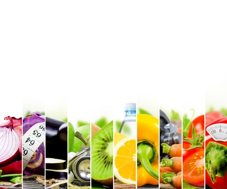 nutrition: Photo of colorful fruit and vegetable mix with measuring tape, stethoscope and scale meter; concept of fitness