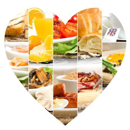 bacon love: Photo of English Breakfast mix slices with heart shape Stock Photo