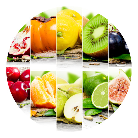 crop circle: Photo of colorful fruit mix with circle shape