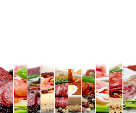 Photo of ham and salami mix with herbs and spice; white space for text