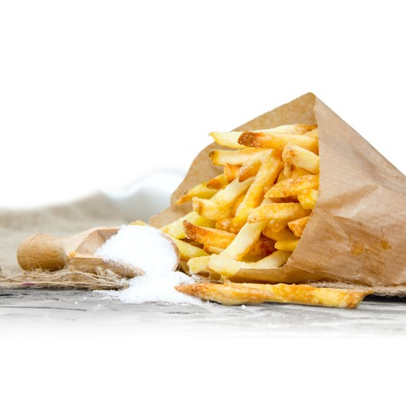 frites: Photo of french fries with salt and white space for text