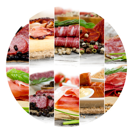 Photo of ham and salami mix with herbs and spice; circle shape