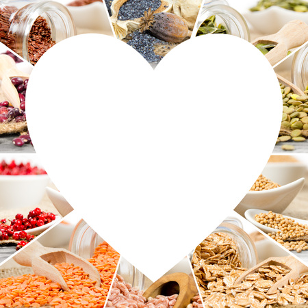pepper flakes: Photo of colorful seed mix with white heart shape