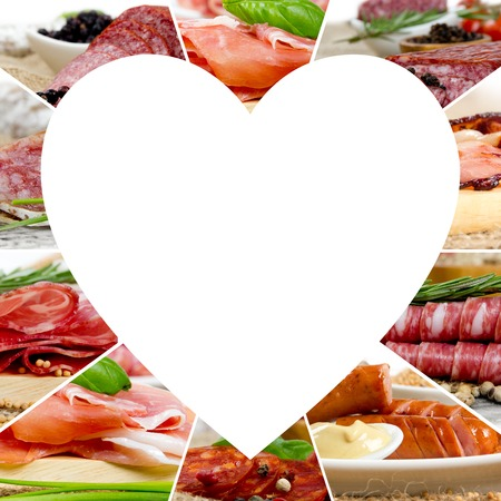 bacon love: Photo of ham and salami mix with herbs and spice; heart shape, white space for text