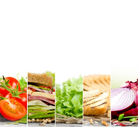 Photo of sandwich and ingredients mix slices woth white space for text