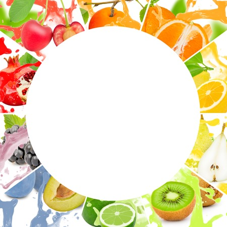 frutas tropicales: colección colorido de la raya del arco iris de frutas con forma de círculo
