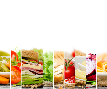 tomato slices: Photo of sandwich and ingredients mix slices woth white space for text