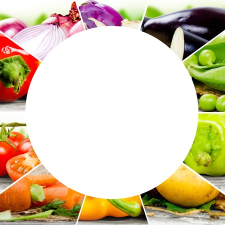 red circle: Photo of colorful vegetable mix with white circle space for text Stock Photo