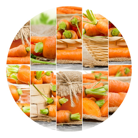 circle shape: Photo of fresh carrot abstract mix with circle shape