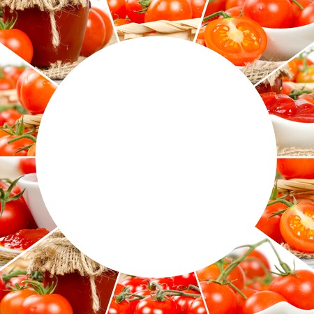 circle shape: Photo of fresh tomato abstract mix with circle shape