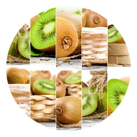 crop circle: Photo of fresh kiwi abstract mix in a circle shape Stock Photo