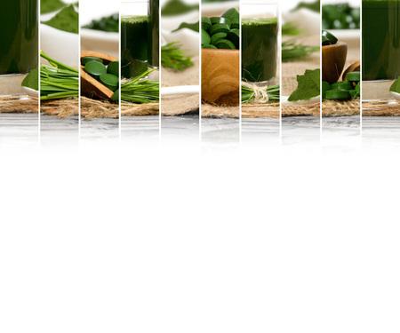 Photo of chlorella and young barley grass abstract mix slices