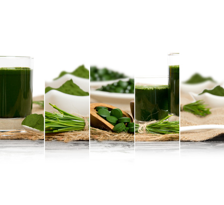 Photo of chlorella and young barley grass abstract mix slices