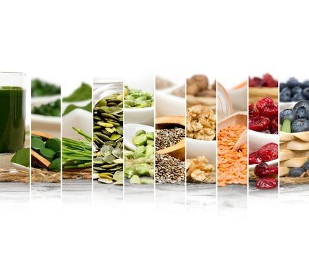 Foto van chlorella, bessen en zaden abstract mix plakken