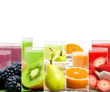 Photo of colorful mix stripes with fruit, slices and drink; healthy food and drink concept; white space for text Stock Photo