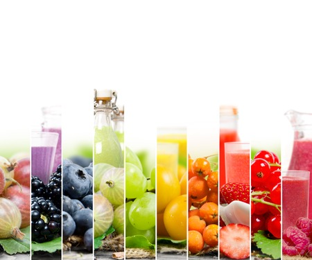 alimentos y bebidas: Photo of colorful mix stripes with berry fruit, slices and glass with juice; healthy food and drink concept; white space for text Foto de archivo