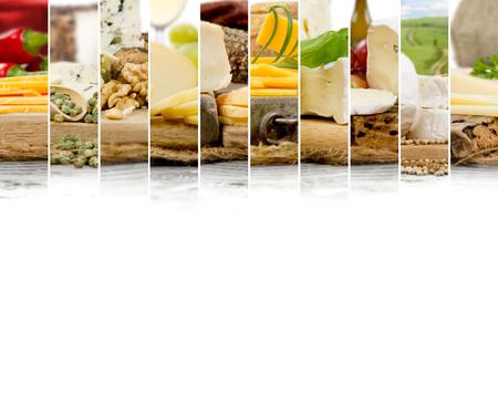 さまざまな種類のチーズとワイン、抽象的なミックスの写真コショウのスパイスとナッツ。本文の空白 写真素材