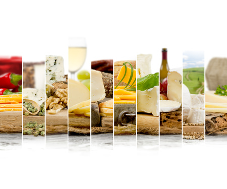 Photo of various kinds of cheese abstract mix with wine, pepper spice and nuts; white space for text