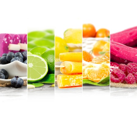 cream and green: Photo of colorful mix stripes with fruit ice cream and slices; white space for text