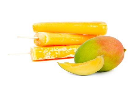 cream and green: Photo of mango ice creams with fresh fruit and slice isolated on white background