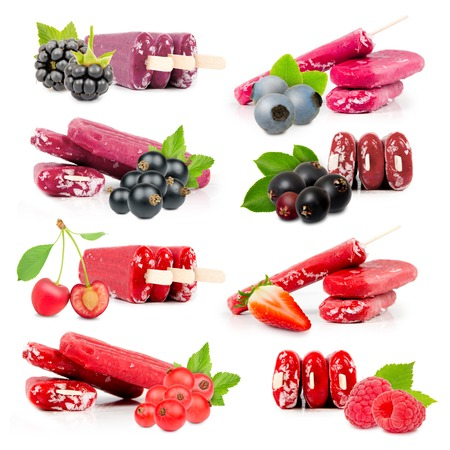 brambleberry: Collection of berry ice creams with fresh fruit and slice isolated on white background