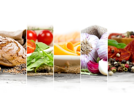 text space: Photo of colorful mix stripes with food ingredients; healthy eating concept; white space for text