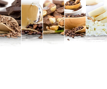 Photo of mix stripes with coffee beans and chocolate bars with, coffee grinder, cup and bowls; white space for text Stock Photo