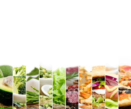 Photo of mix stripes with various kinds of healthy and unhealthy food; white space for text
