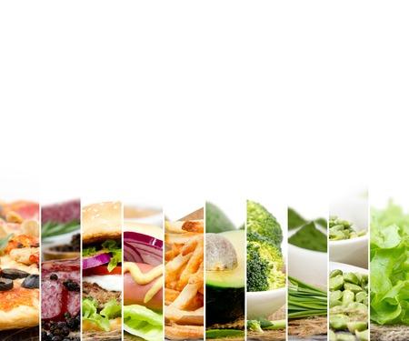 comidas saludables: Foto de rayas de mezcla con diversos tipos de alimentos saludables y no saludables; espacio en blanco para el texto Foto de archivo