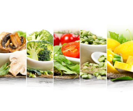abstract food: Photo of healthy food - vegetable, seeds and superfood abstract mix slices; healthy eating, dieting and detoxication concept; white space for text