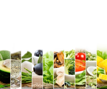 Photo of healthy food - vegetable, seeds and superfood abstract mix slices; healthy eating, dieting and detoxication concept; white space for text
